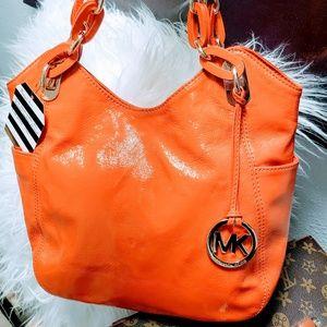Michael Kors orange patent leather tote, purse
